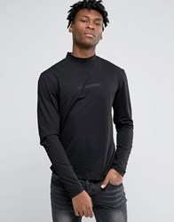 Criminal Damage Long Sleeve T Shirt With Turtle Neck Black