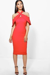 Boohoo Oversized Cold Shoulder Bodycon Dress Red