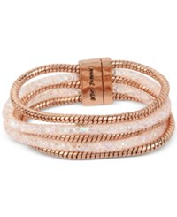 Betsey Johnson Rose Gold Tone Layered Crystal Mesh And Coil Bracelet Pink
