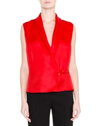 Giorgio Armani Sleeveless Silk Organza Gilet Red