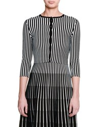 Tomas Maier Striped Knit Cardigan Sweater Black White