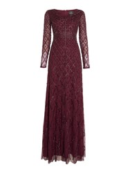 Adrianna Papell Long Sleeved Beaded Gown Cassis