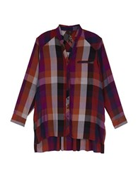 Melissa Mccarthy Seven7 Plus Plaid Long Sleeve Button Down Shirt Pomegranate