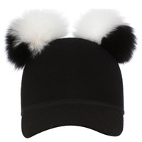 Charlotte Simone Women's Sass Cap Double Pom Black White One Size
