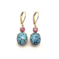 Zt Vintage Turquoise Matrix And Rose Pink Jewel Earrings
