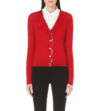 Burberry Checked Trim Wool Cardigan Military Red
