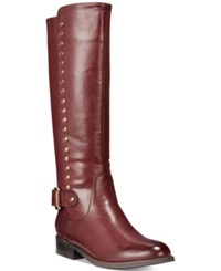Wanted Pub Tall Shaft Studded Boots Women's Shoes Burgundy