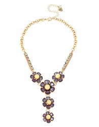 Betsey Johnson Faceted Stone Flower Y Shaped Necklace Purple