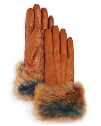 Ugg Leather Tech Gloves With Shearling Sheepskin Cuff Chestnut