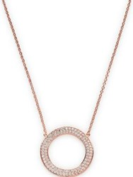 Cz By Kenneth Jay Lane Round Cubic Zirconia Wavy Circle Necklace Rose Gold