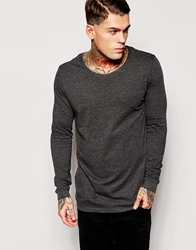Asos Longline Long Sleeve T Shirt With Scoop Neck Charcoalmarl