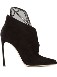 Sergio Rossi Embellished Cut Out Booties Black