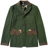 Cdg Homme Comme Des Garcons Garment Dyed No. 2 Camo Trim Blazer Green