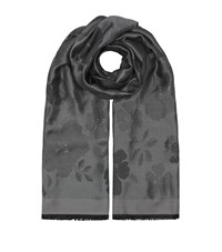 Armani Collezioni Reversible Flower Print Scarf Female Grey
