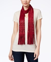 Inc International Concepts Perforated Faux Suede Skinny Scarf Only At Macy's Wine