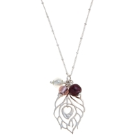 Martick Peacock Feather And Murano Glass Pendant Necklace Purple Silver