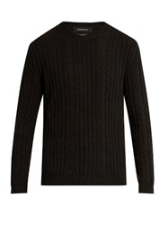 Ermenegildo Zegna Ribbed And Chevron Knit Cashmere Sweater Charcoal