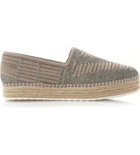 Steve Madden Chancee Leather Flatform Espadrilles Grey Leather