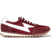 Marc Jacobs Leather Trimmed Suede And Mesh Sneakers Burgundy