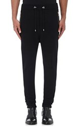 Balmain Men's Cashmere Drawstring Jogger Pants Black