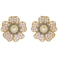 Eclectica Vintage 1950S Trifari Gold Plated Pearl And Swarovski Crystal Ornate Floral Clip On Earrings Gold