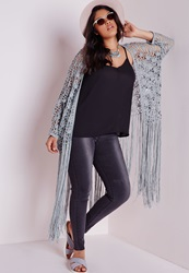 Missguided Plus Size Crochet Long Tassel Cardigan Grey Grey