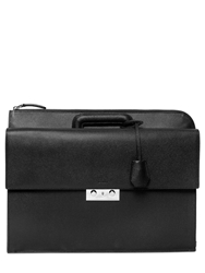 Bally Embossed Leather Zip Around Briefcase Black