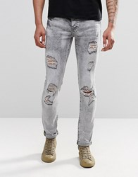 Sixth June Skinny Jeans With Distressing Grey