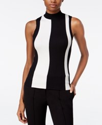Bar Iii Striped Mock Turtleneck Top Only At Macy's Black Combo