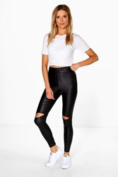 Boohoo Matte Leather Look Split Knee Leggings Black