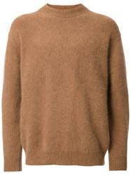 H Beauty And Youth. Ribbed Crew Neck Jumper Brown
