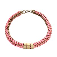 Mamazoo Chain Silk Weave Necklace Neon Pink