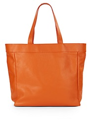 Saks Fifth Avenue Made In Italy Reversible Leather And Nylon Tote Orange