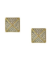 Vince Camuto Goldtone And Crystal Pyramid Stud Earrings