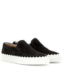 Chloe Ivy Suede Slip On Sneakers Black