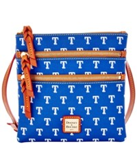 Dooney And Bourke Texas Rangers Mlb Triple Zip Crossbody Bag Blue