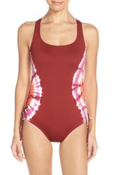 Women's Lucky Brand 'Half Moon' Tie Dye One Piece Swimsuit