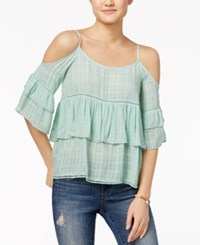 American Rag Ruffled Cold Shoulder Top Only At Macy's Teal