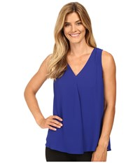 Vince Camuto Sleeveless V Neck Drape Front Blouse Anchor Blue Women's Blouse