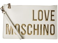 Love Moschino Logo Font Pouch White