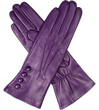 Dents Rose Silk Lined Leather Gloves Amethyst