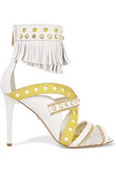 Just Cavalli Fringed Leather Sandals White