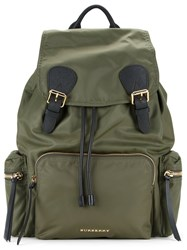 Burberry Buckled Canvas Backpack Green
