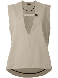Bassike Plunging V Neck Top Brown