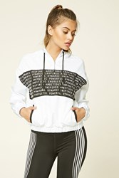 Forever 21 Active Inspired Graphic Hoodie White Black