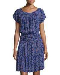 See By Chloe Printed Short Sleeve Blouson Dress Deep Blue