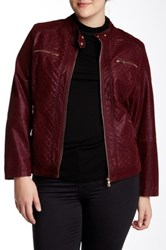 Live A Little Quilted Faux Fur Lined Faux Leather Jacket Plus Size Red