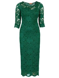 Sugarhill Boutique Scalloped Lace Dress Dark Green
