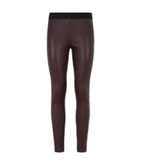 Reiss Carrie Leather Leggings Burgundy