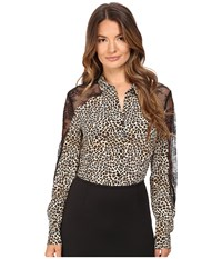 The Kooples Wild Leo On Silk Crepe De Chine Lace Blouse Leo Women's Blouse Gray